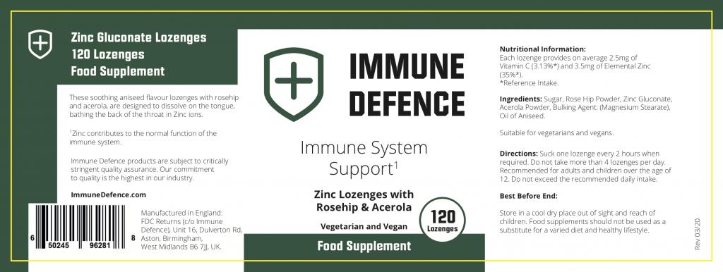 immune defence ingredient label